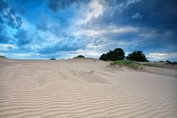 blue clouded sky over sand dunes