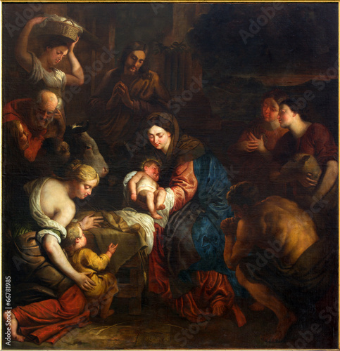Leinwanddruck Bild Mechelen - Adoration of the Shepherts in the cathedral