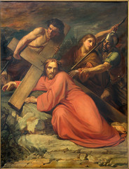 Brussels - Simon of Cyrene help Jesus to carry his cross