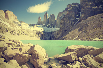 Torres del Paine mountains and lake in Chile, Patagonia, vintage