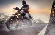 Leinwandbild Motiv Man seat on the motorcycle on the city bridge