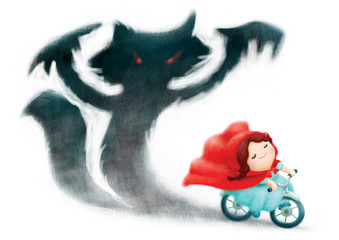 red riding hood ride bicycle with shadows fox behind