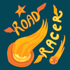 road racer vector Illustration, hand drawing
