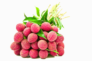 Thai fruits name Lychee isolated on white