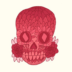 Day of The Dead colorful Skull vector illustration