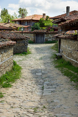 Rural paved street in the Balkans