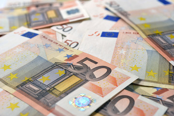 50 euro banknotes as background