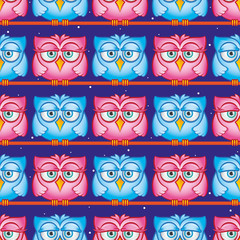 Owls pattern. Seamless pattern