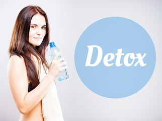 Detox, beautiful woman with bottle
