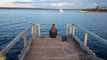 Girl at dock Botwood NL