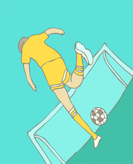 soccer player kicking the ball vector Illustration, hand drawing