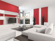 Contemporary living room interior with red accents