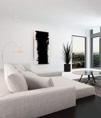 White and black living room interior