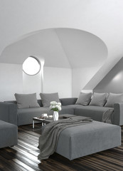 Modern grey living room interior