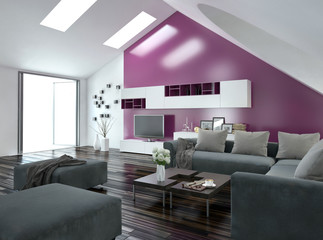 Modernes Wohnzimmer mit pinker Wand und grauer couch