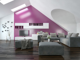 Apartment living room interior with purple accent