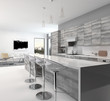 Gray style wooden open-plan kitchen interior