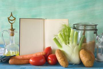 cookbook, food ingredients, kitchen utensils, free copy space