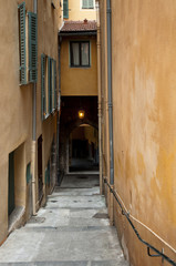 Narrow streets and old building Villefranche Town in Riviera
