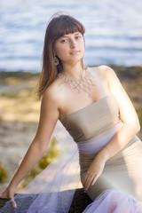 Portrait of beautiful young slim brunette