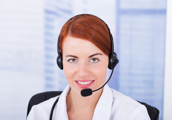 Customer Service Representative With Microphone