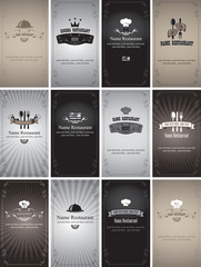 set of business cards on food and drinks in retro style