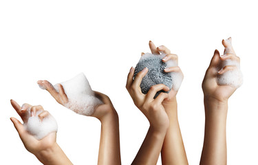 woman hands with a soap foam
