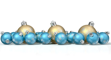 Ornate Matte Gold And Blue Christmas Baubles