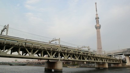 View of Tokyo skyline from Sumida river