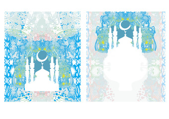 abstract religious card set - Ramadan Kareem  Design