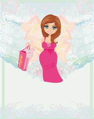 pregnant woman it has a birth to a girl - baby shower card