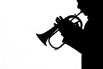 man playing a trumpet on white background