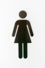 Aluminum woman toilet signs