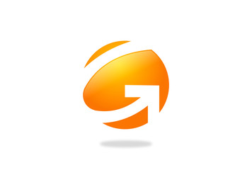 circle G letter arrow vector logo