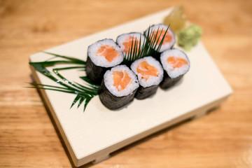 Maki rolls with smoked salmon
