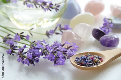 Foto op Canvas Lavendel lavender and gemstones