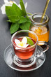 Herbal tea with mint, jasmine and honey.