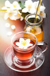Herbal tea with jasmine flowers and honey