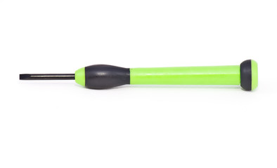 Green screwdriver on white background