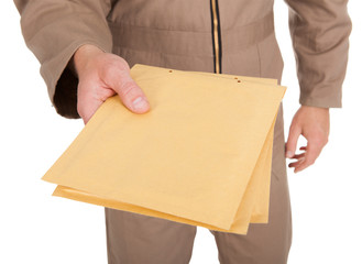 Midsection Of Postman Holding Envelopes