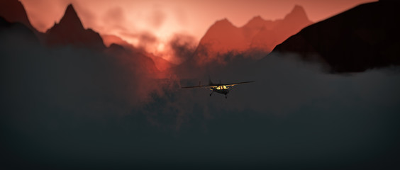 Airplane flying through rough mountain landscape at sunset.