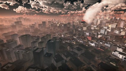 Aerial of airplane crashing in skyscraper city. Dark cloudy sky.