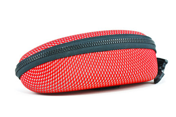 red glasses case on white background