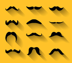 Vector set of mustaches with shadows