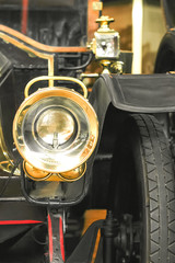 vintage car headlamp closeup