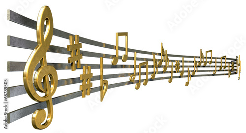 Gold Music Notes On Wavy Lines - 66789505