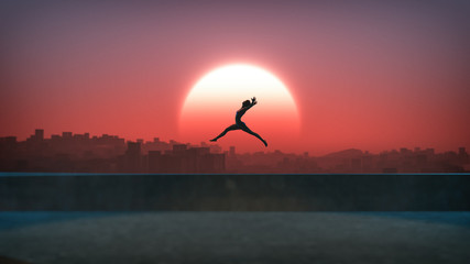 Silhouette of jumping ballet woman with skyline of skyscraper ci