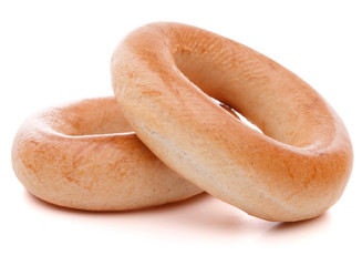 bread ring or baranka  isolated on white background cutout