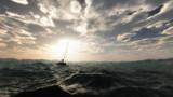 Naklejka Lost sailing boat in wild stormy ocean. Cloudy sky.