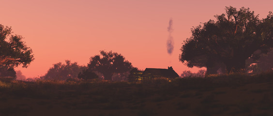 Lonely wooden house on the prairie at sunset. Pink sky.